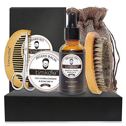 TIMKDLE Beard Kit for Men,Grooming & Trimming Tool,Citrus Beard Oil,Unscented Beard Balm,Beard Comb,Beard Brush,Beard Scissor,Storage Bag,Natural & Organic for Beard Care