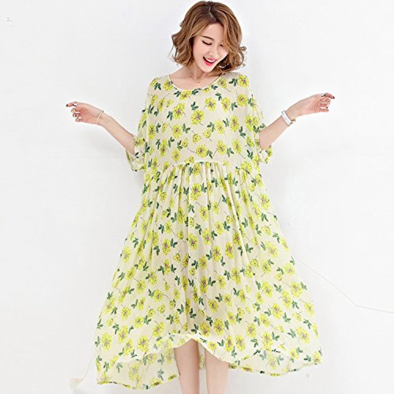 XIURONG Female Dress Dress Loose Thin Beach Floral Skirt
