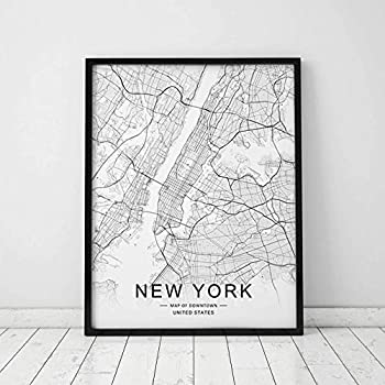 New York Map Wall Art New York Street Map Print New York Map Decor City Road Art Black and White City Map Office Wall Hanging 11x14inch Unframed