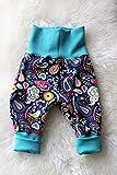 Baby Pumphose Schlupfhose Sweathose Babyhose newborn Gr. 56-68 Paisley Blumen Blätter blau türkis