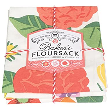 Now Designs Bakers Floursacks, Set of Three, Flowers of the Month