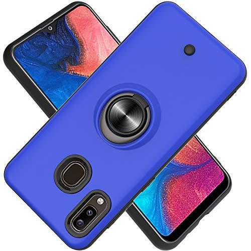 FAWUMAN Hülle für Samsung Galaxy A20/A30/M20S mit Standfunktion, Dekomprimierungsknopf, Rotationsgyroskop, PC + TPU Handyhülle Stossfest Case -Navy blau