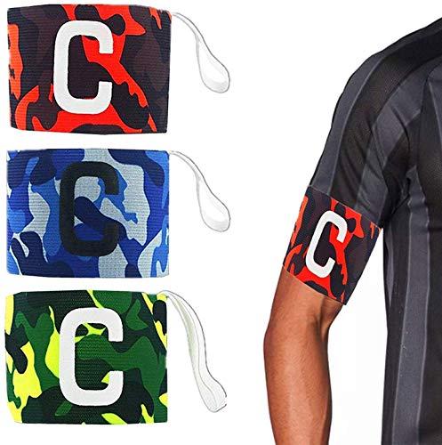 AUVSTAR Brazalete de capitanes para Adultos jóvenes - Velcro para un tamaño Ajustable, Adecuado para múltiples Deportes, Incluyendo fútbol y Rugby, Hockey y fútbol gaélico Paquete de 3 Colores