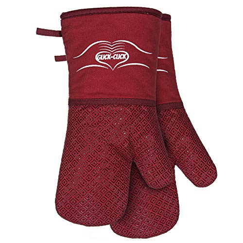 Extra Long Oven Mitts - Red Silicone and Cotton Oven Gloves - Heat Resistant to 500 Degrees - Non-Slip, Fully Lined Gloves with Silicone Trivet