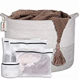 SUNPRYS XXXL Cotton Rope Basket:22'x14' Extra Large Storage Blanket Basket Living Room:White...