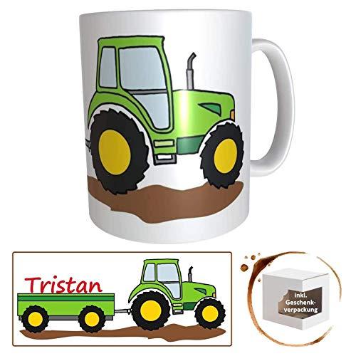 personalisierte Kindertasse Traktor mit Name, Namenstasse Trecker Schlepper Traktor, Kindergartentasse für kleine Landwirte und Treckerfahrer, Traktortasse, Treckertasse, Schleppertasse, Bulldog