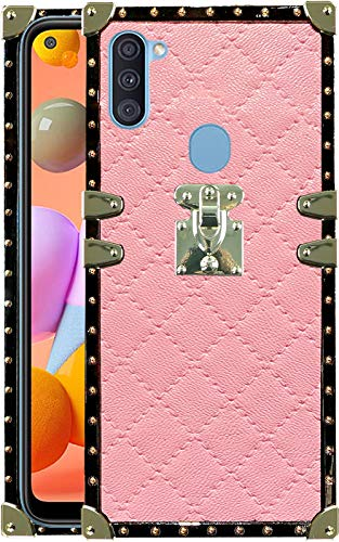 A11 Phone case Trunk Compatible with Samsung Galaxy A 11 Cases Square Plaid Girly Rectangle Box Bumper samsunga11 galaxya11 Cover for Girls Women Pretty Stylish Protective funda Skin 6.4 inch (Pink)