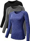 Neleus Women's 3 Pack Workout Running Shirt,8021,Black,Grey,Blue,L