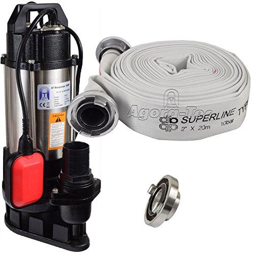 Agora-Tec® AT- Baupumpe-550W Tauchpumpe für Schmutzwasser, Abwasser, für Fäkalien und organische Feststoffe mit Schwimmerschalter und max: 1,1 bar und max: 14500l/h inklusive C - STORZ Kupplung und (C-Schlauch: 20 Meter)