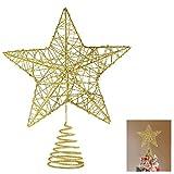 Weihnachtsbaum Christbaumspitze Stern – Gold Glitzer Metall Baum Stern Großartiges Design Passend für durchschnittlich großeWeihnachtsbäume, 26cm mit Frühling für Weihnachtsbaum allgemeine Größe