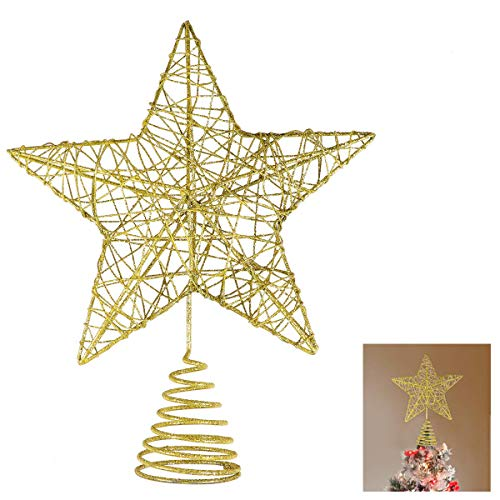 Unomor Christmas Star Tree Topper -Gold Glittered Metal Hallow Tree Star Unique Design- 8 Inches (Size Not Included Base) Fit for General Size Christmas Tree
