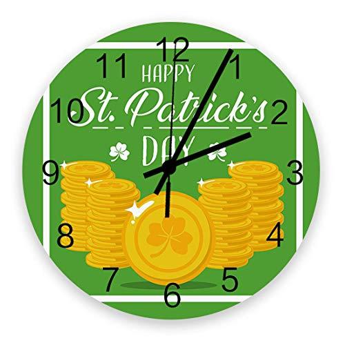 Home Reloj de pared redondo de madera vintage silencioso de 10 pulgadas, moneda del día de San Patricio, fácil de leer y que funciona con pilas, reloj sin tictac para oficina / cocina / dormitorio / s