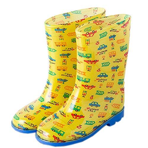 Chaussures de pluie pour tout-petits bébé Rain Boot journée Pluvieuse Porter Chaussures en caoutchouc Jaune voitures