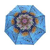 LUPINZ Regenschirm, bunt, Tropische Fische, Tauchen, Luftblasen, faltbar, Reise-Regenschirm,...
