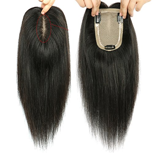 Echthaar-Topper zum Anklipsen, für Frauen mit ausdünnendem Haar, 9 x 14 cm, Seidenbasis