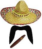 0207VP843N5 Sombrero Mexicain pour Homme Bleu/Noir Moustache CIGARES-DÉGUISEMENT-Set Accessoires...