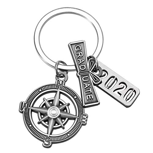 Graduation Keychain with Scroll,'2020' Charm and Compass - 2020 Graduation Gifts for Him