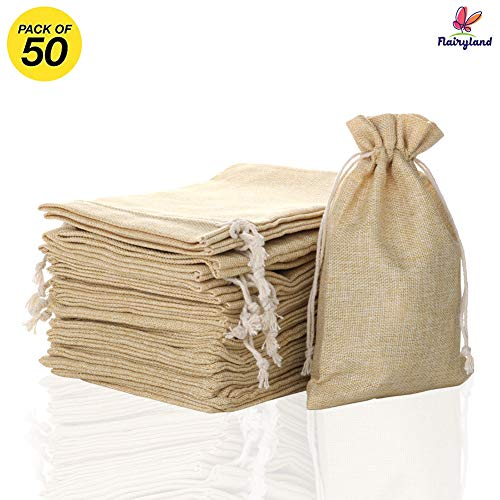 """FLAIRYLAND 5"""" x 8"""" Burlap Bags with Jute Drawstring for Holiday Party Birthday Wedding-Gift Jewelry Treat DIY Craft Favor Bags Sack Pouch, Biodegradable Linen Absorbs Moisture Oil Grease, Lot of 50"""