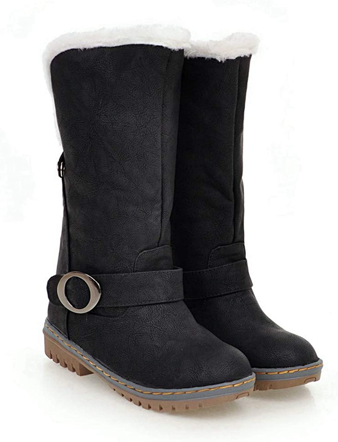 CYBLING Womens Winter Mid Calf Boots Riding Military Moto Chunky Low Heel Buckle Strap Snow Boots