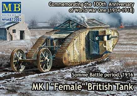 マスターボックス 1/72 イギリス マークI型菱形戦車-雌型 機銃搭載 MB72002 プラモデル
