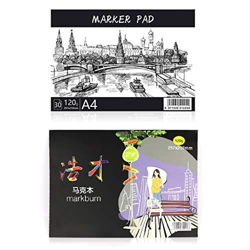 A3 / A4 / B5 Bloc de Papel de Dibujo Cuaderno de bocetos para Marcador de Arte Diario de Pintura Regalos para Estudiantes 30 Hojas