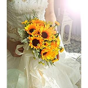 U'Artlines Artificial Sunflower Bridal Wedding Bouquet Romantic Handmade Holding Flower for Wedding Party Home Decoration (Bouquet A)