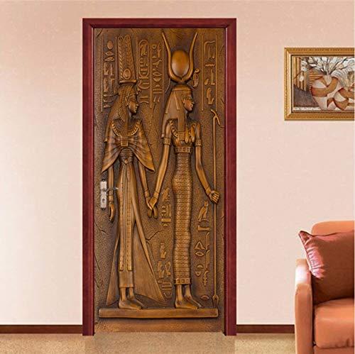 古代エジプト ヨーロッパ スタイル レトロドアステッカー 3d エジプト 彫刻 壁紙 リビングルーム キッチン pvc 防水 ホームデカールビニール ドア 壁画