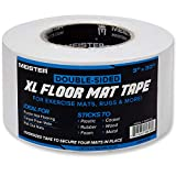 Meister Double-Sided XL Floor Mat Tape - Secures Exercise Mats & Rugs in Place, Transparent, XL Roll - 3in x 30yd (1130FMTXL)