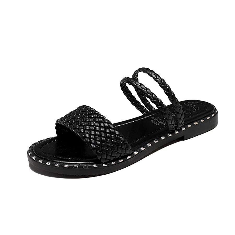 ヤギグリーンランド裏切り者[FULFUGO] SYフラットサンダル夏の靴ファッションレジャービーチソリッドシューズを編む女性