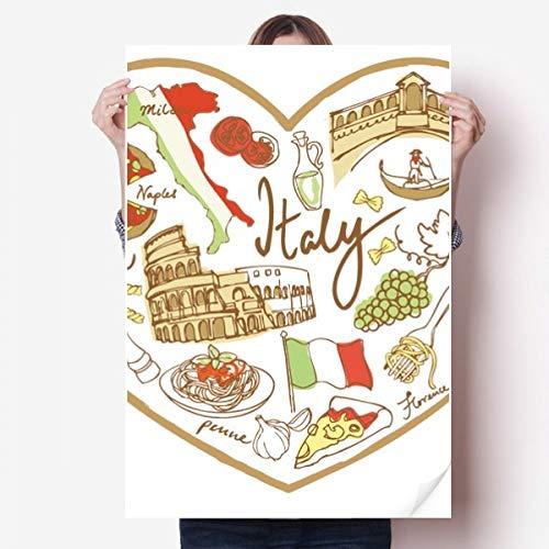 DIYthinker Italië hart Romeinse theater nationale vlag Vinyl muur Sticker Poster muurschildering behang kamer Decal 80X55Cm