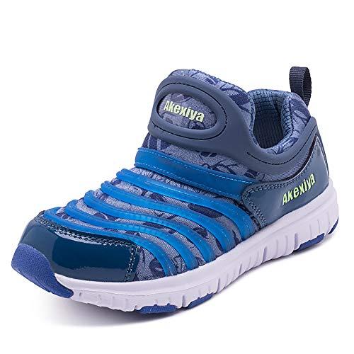 Loykind Les Formateurs Respirant Kid, Gym Fitness Sports Formateurs Chaussures De Marche Crochet Et Boucle Chaussures De Sport Léger Sport Chaussures De Course,Lake Blue,35