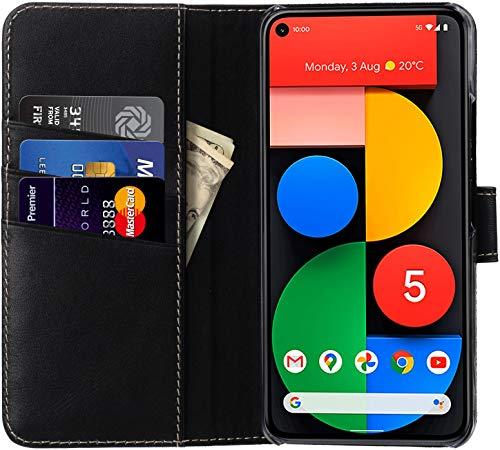 StilGut Talis kompatibel mit Google Pixel 5 Hülle mit Kartenfach aus Leder, Flip Cover, Wallet Hülle, Lederhülle mit Fächern, Standfunktion und Verschluss - Schwarz Nappa