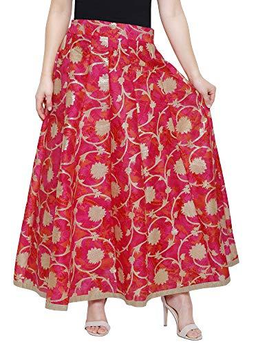 DAMEN MODE Women Royal Silk Skirt (Red & Pink)