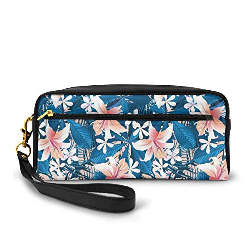 Pencil Case Pen Bag Pouch Stationary,Singapore Plumeria and Tropical Hibiscus Hawaiian Flowers Grunge Design,Small Makeup Bag Coin Purse