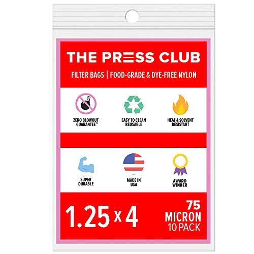 75 Micron | Premium Nylon Tea Filter Press Screen Bags | 1.25' x 4' | 10 Pack | Zero Blowout Guarantee | All Micron & Sizes Available