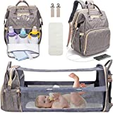 3 in 1 Diaper Bag Backpack with Changing Station, Travel Bassinet Foldable Baby Bed, Baby Bag Portable Crib, Mummy Bag, Large Capacity, Waterproof, USB Charging Port, Gray (Gray)