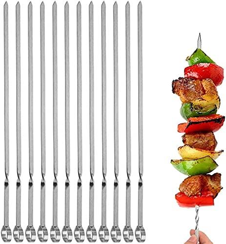 SZMMG 12 brochetas de acero inoxidable para barbacoa, 40 cm, pinchos para carne, brochetas para barbacoa, brochetas para pan de palo, accesorios para todas las carne, verduras, pan, pastelería, etc.