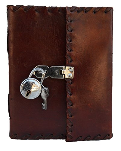 Jaald 25 cm Notizblock Notizen Notizbuch Seiten Handgemacht Album Tagebuch Leder mit Lederbezug Geschenke Antik Keltische Schloss Schlüssel Schliesse