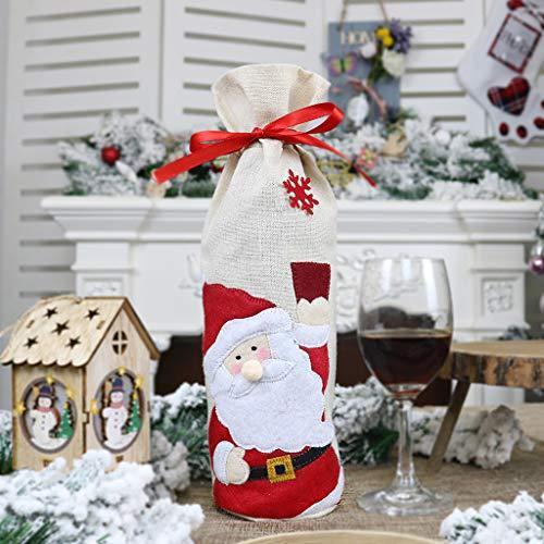 Deko Weihnachten, QHJ Weihnachtsrotwein Flaschen Taschen Karikatur Weihnachtsdekorations Wein Geschenk Tasche Weinflasche Set Alten Mann Schneemann Elch Rotwein Tasche (A)