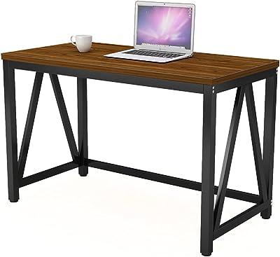 パソコンデスク オフィスデスク 机 PCデスク 幅120×奥行60cm 勉強机 アジャスター付き 木製 シンプル テレワークテーブル 在宅勤務 組立簡単 耐荷重50kg