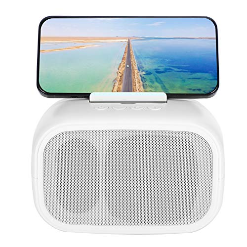 214 Altavoz BT, Altavoz estéreo portátil Bluetooth 5.0, Altavoz Dual de TWS con Sonido de bajo, Tarjeta de Memoria de Soporte/reproducción de Discos aux/u, función de Soporte de teléfono(White)