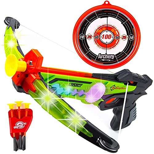 Liberty Imports Light Up LED Toy Crossbow Archery Set with Suction Cup Arrows and Target – Great Indoor and Outdoor Practice Shooting Games for Kids (Green)
