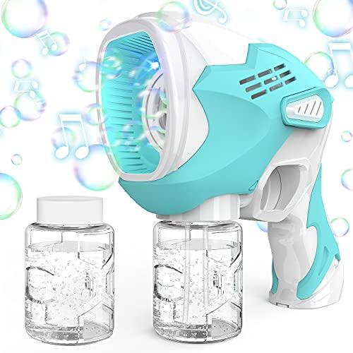 KIMILAR Máquina de Burbujas para Niños, Pistola de Burbujas Eléctrica con Música para Acampar Exterior, Cumpleaños, Fiesta de Bodas, Automatic Juguetes de Burbujas para Niñas 3 Años+