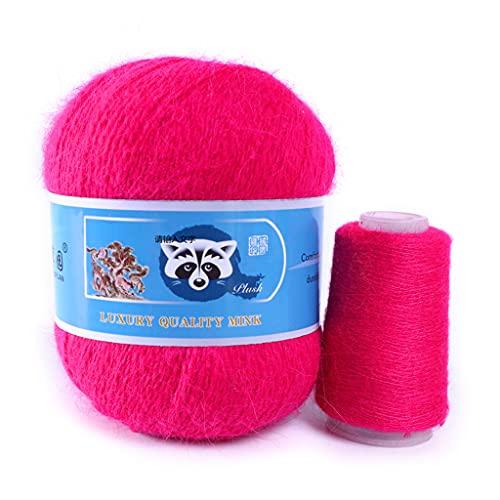 50 + 20 g de lana larga de visón de grosor medio, lana de visón, para manualidades, vestidos,...