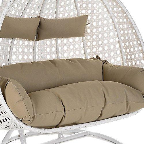 Home Deluxe Polyrattan Hängesessel Twin XXL, inkl. Sitz- und Rückenkissen (weiß) - 3