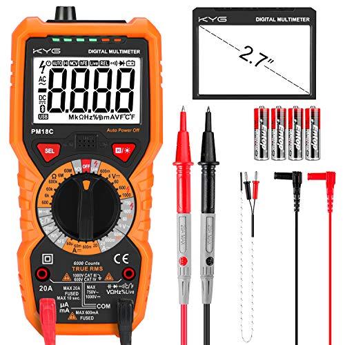 KYG Multimètre Numérique Portable Testeur Electrique Professionnel et Automatique, Lampe Torche, Testeur de Pile, Tension, Courant, Résistance, Diode, Rétro-éclairage