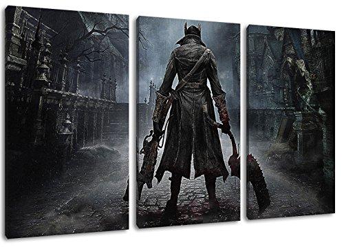 bloodborne ps4 game 3-Teilig(120x80cm) auf Leinwand, XXL riesige Bilder fertig gerahmt mit Keilrahmen, Kunstdruck auf Wandbild mit Rahmen