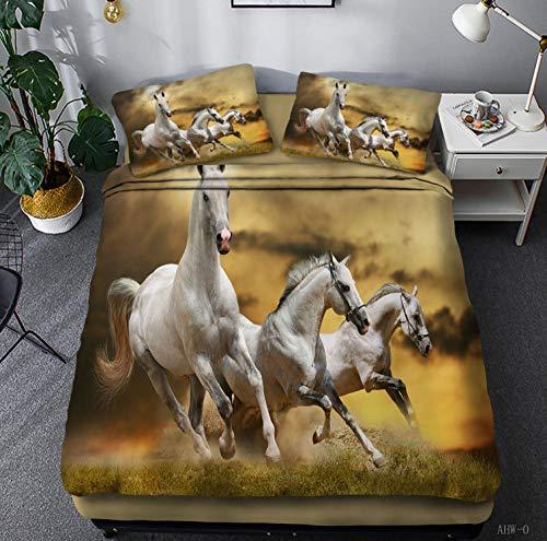 Funda De Edredón 200X200 3D ImpresoRunning Wild Horse Sistemas del Lecho del Algodón De Microfibra Ultra Suave hacia Abajo Edredones Cubierta con La Funda De Almohada Postal Inicio Acogedor C