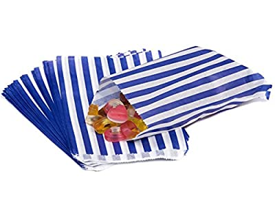 The Paper Bag Company Candy Stripe Paper Bags, 5 x 7 Inches - Blue, Pack of 100 by The Paper Bag Company