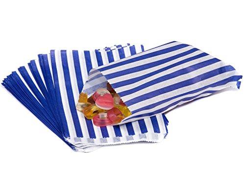 The Paper Bag Company Gestreifte Papiertüten, 12,7 x 17,8 cm, goldfarben, 200 Stück, Holz, blau, 100 Bags